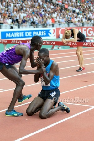 The world's last sub-8:00 steeple: Birech breaks down after passing Jager in the home straight in Paris