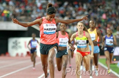 Hassan winning last year's Lausanne DL 1500