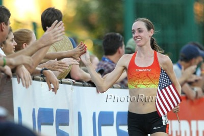 Huddle looked great in her last race, closing out her USA 10,000 victory with a 65.56 final lap