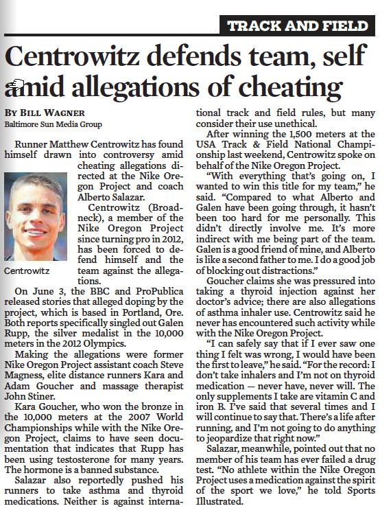NOP doping investigation gets covered in the Baltimore Sun