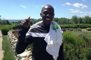 Daniel Salel of Kenya in advance of the 2015 TD Beach to Beacon 10-K in Cape Elizabeth, Maine. (photo by Chris Lotsbom for Race Results Weekly)
