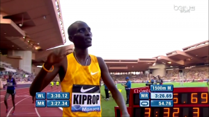 Kiprop seemed the least excited of anyone. He just did a small wave.