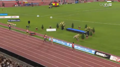 A rare sight: someone pulling away from Jenny Simpson at the end of a 1500