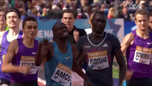 Amos has to give it everything to beat Rudisha