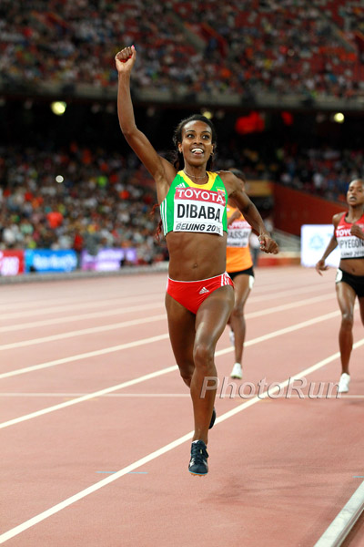 Genzebe Dibaba celebratest her first outdoor title