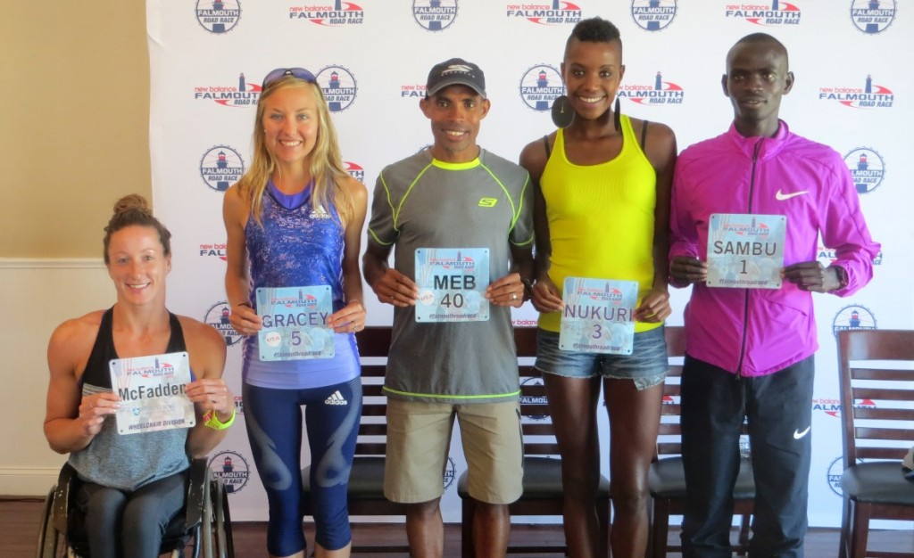 Some of the top athletes competing in the 2015 New Balance Falmouth Road Race (from left to right): Tatyana McFadden, Neely Spence Gracey, Meb Keflezighi, Diane Nukuri, Stephen Sambu (photo by Chris Lotsbom for Race Results Weekly)