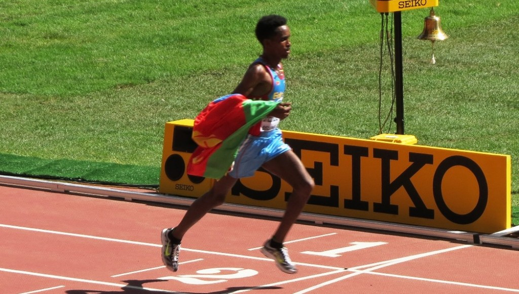 Ghirmay Ghebreslassie of Eritrea winning the 2015 IAAF World Championships marathon in 2:12:28 (photo by David Monti for Race Results Weekly)