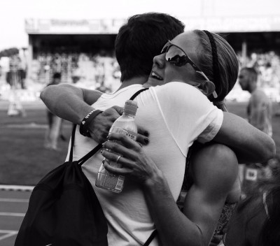 The Johnsons embraced after Lauren hit the IAAF standard in Belgium on July 18 (Photo courtesy Nick Johnson)
