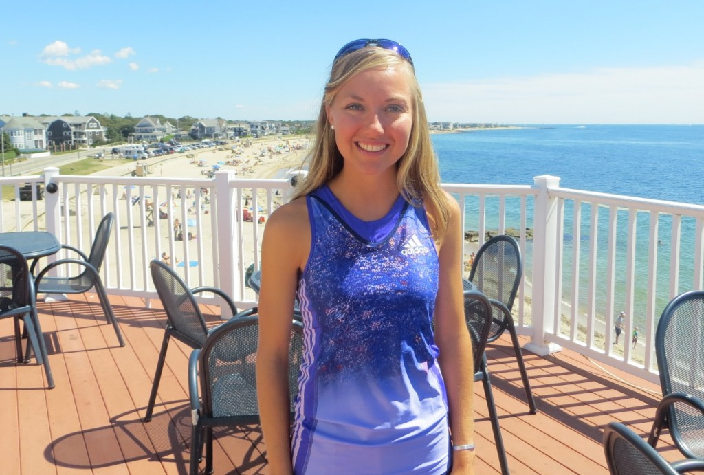 Neely Spence Gracey in advance of the 2015 New Balance Falmouth Road Race (photo by Chris Lotsbom for Race Results Weekly)