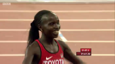 Cheruiyot was all smiles after this one