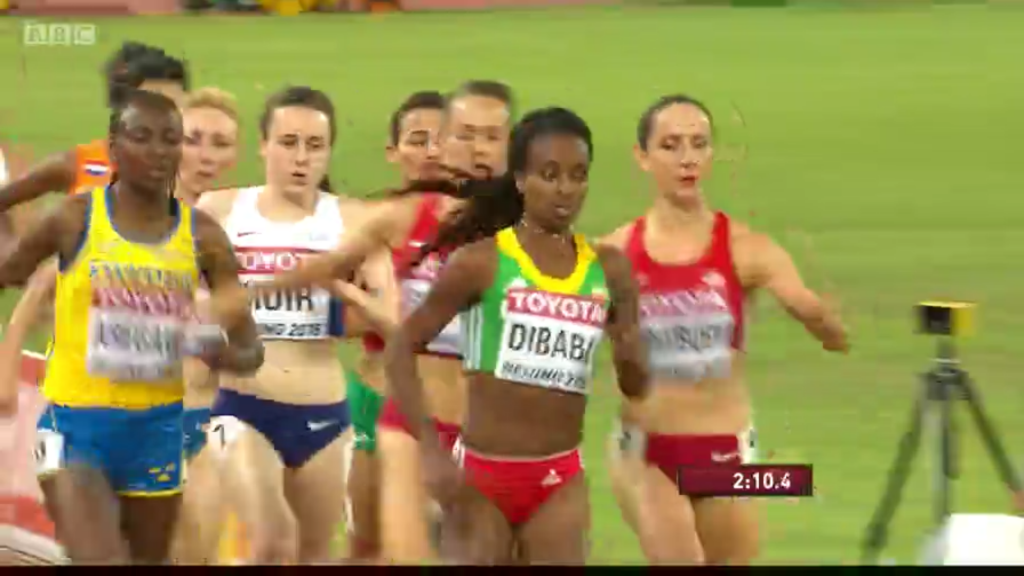 Dibaba's move to the lead resulted in Simpson's shoe coming off