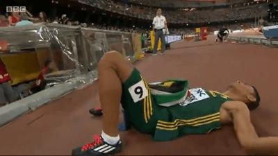 Van Niekerk was utterly exhausted after his ridiculous run