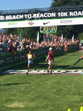 Ayalew managed to dodge the finish tape (and race founder Joan Benoit Samuelson) at the finish