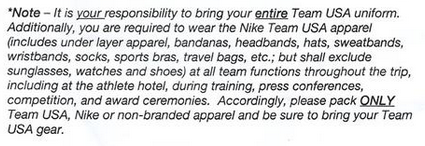 Portion of USATF letter telling athletes ONLY to pack non branded gear