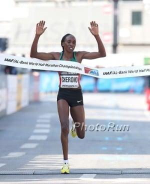 Cherono winning gold at the World Half Champs last year
