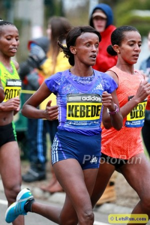 Kebede en route to a seventh-place finish in Boston this year