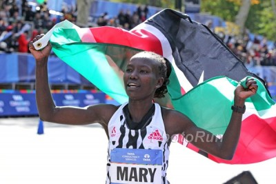 Mary Keitany celebrates her win in New York last year *More 2015 TCS New York City Marathon Marathon