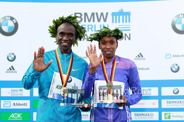 Eliud Kichoge and Glady Cherono 2015 BMW Berlin Marathon Champions
