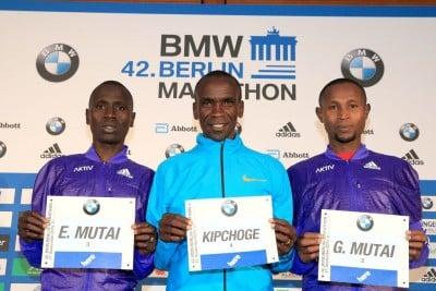 Emmanuel Mutai, Eliud Kipchoge and Geofrey Mutai at 2015 BMW Berlin Marathon