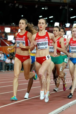 Rowbury and U.S. teammate Jenny Simpson leading the World Championship final in Beijing