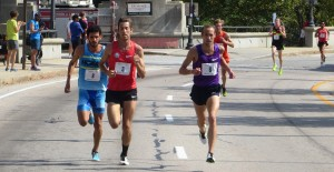 David Torrence, Dan Huling and Dathan Ritzenhein lead the men's field at the USA 5-K Championships in Providence, R.I., hosted by the CVS Health Downtown 5-K (photo by Chris Lotsbom for Race Results Weekly).