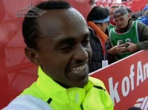 Tsegaye Kebede after winning 2012 Chicago