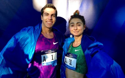 Donn Cabral and Alexi Pappas celebrate their victories at the 2015 NYRR Dash to the Finish Line 5-K by modeling their TCS New York City Marathon capes (photo by Chris Lotsbom for Race Results Weekly)