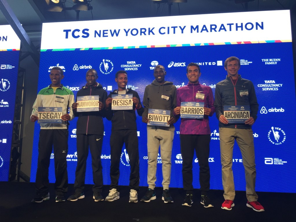 The elite men at the 2015 NYC Marathon