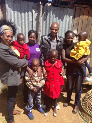 Kibet with his sisters Judy, Daisy, Abigael and his nieces and nephews