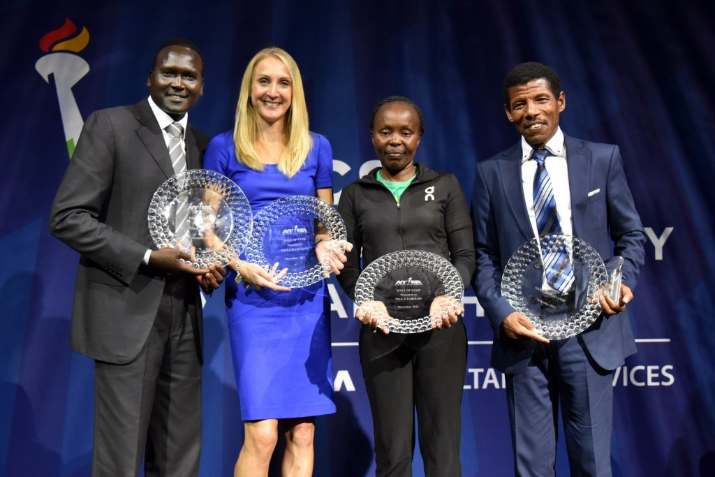 NYRR Hall of Fame Inductees Paul Tergat, Paula Radcliffe, Tegla Loroupe, Haile Gebrselassie (Courtesy NYRR)