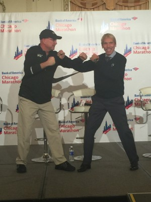 Pinkowski (l) and NYRR Head Peter Ciaccia (r) have some fun