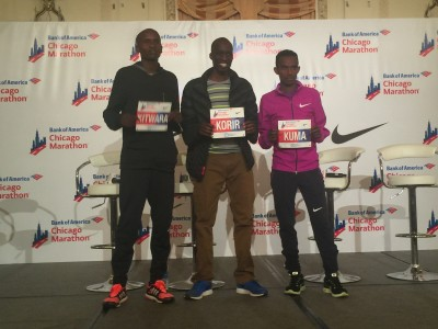 Sammy Kitwara (l), Wesley Korir and Abera Kuma (r).