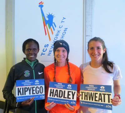 Sally Kipyego, Alana Hadley and Laura Thweatt in advance of the 2015 TCS New York City Marathon (photo by Chris Lotsbom for Race Results Weekly)