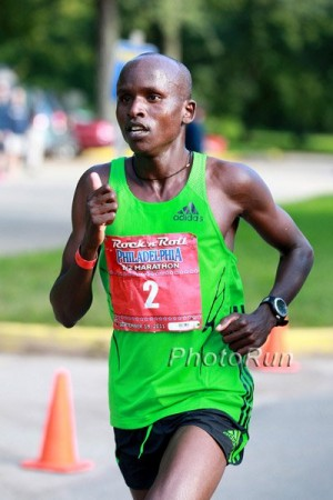 Kitwara at the Philly Half in 2011, where he ran his pb of 58:48