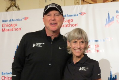 Olympic gold medalist Joan Samuelson and race director Carey Pinkowski in advance of the 2015 Bank of America Chicago Marathon (photo by David Monti for Race Results Weekly)