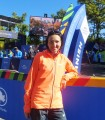 Jelena Prokopcuka of Latvia at the finish line of the 2015 TCS New York City Marathon (photo by Chris Lotsbom for Race Results Weekly)