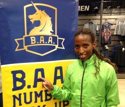 2015 Boston Marathon champion Caroline Rotich of Kenya in advance of the 2015 B.A.A. Half-Marathon (photo by Chris Lotsbom for Race Results Weekly)