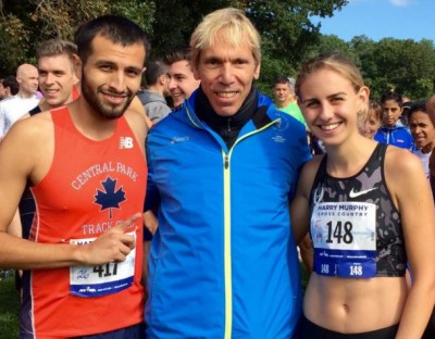 Mary Cain (r) with Peter Ciaccia (c) in 2015, president of events for NYRR and race director of the TCS New York City Marathon. Photo courtesy of the NYRR.