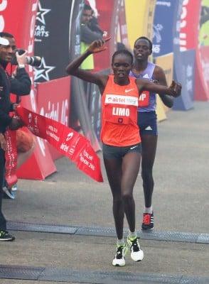 Cynthia Limo wins. Photo courtesy of Airtel Delhi Half Marathon.