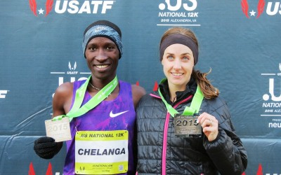 Sam Chelanga and Molly Huddle show off their finish medals after winning the 2015 .US 12-K National Road Racing Championships in Alexandria, Va. (photo by Jane Monti for Race Results Weekly)
