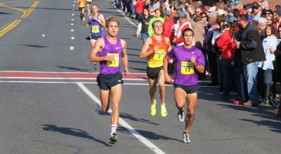 Will Geoghegan (l) out-sprinting Maverick Darling and Donn Cabral to win the 2015 Manchester Road Race (photo by Jane Monti for Race Results Weekly)