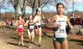 PHOTO: Dana Giordano of Dartmouth (r) leads Sarah Collins of Providence (528), Natalie Schudrowitz of Brown (118), and Christina Melian of Stony Brook (648) at the 2015 NCAA Northeast Regional Cross Country Championships at Franklin Park in Boston on November 13 (photo by Chris Lotsbom for Race Results Weekly)