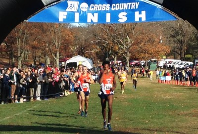 (left to right) Martin Hehir, Colin Bennie and Justyn Knight finishing third, second and first, respectively, at the NCAA Northeast Regional Cross Country Championships in Boston's Franklin Park on November 13, 2015 (Photo by Chris Lotsbom for Race Results Weekly)