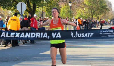 Molly Huddle wins her 21st USA title at the 2015 .US 12-K National Road Racing Championships in Alexandria, Va., in 38:36 (photo by Jane Monti for Race Results Weekly)