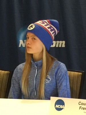 Ostrander at the pre-NCAA XC press conference last year