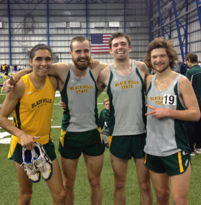 McSpadden second from left celebrated his 5k PR in February with from left Murie, Seth Ulvested and Donnie Decker