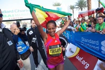 Tirfi Tsegaye celebrates in Dubai in 2013