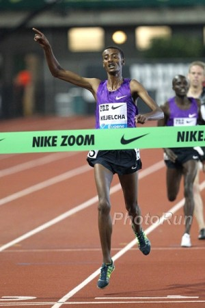 Hayward Field helped launched Kejelcha's career; he won the World Junior title there in '14 and returned in '15 to win at the Pre Classic
