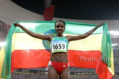 Tirunesh Dibaba after winning her first Olympic 10,000 gold in London