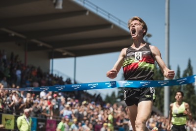 Drew Hunter celebrating his win over Grant Fisher at the Brooks PR meet last year. Photo by John Jefferson, courtesy of Brooks Running.